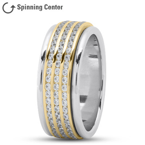 Three Row Spinning Diamonds Wedding Ring in 14K Two Tone Gold 2.05 tcw.