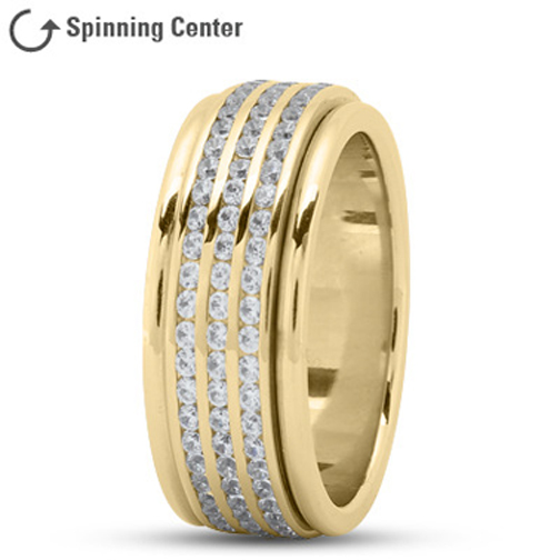 Three Row Spinning Diamonds Worry Ring in 18K Yellow Gold 2.05 tcw.