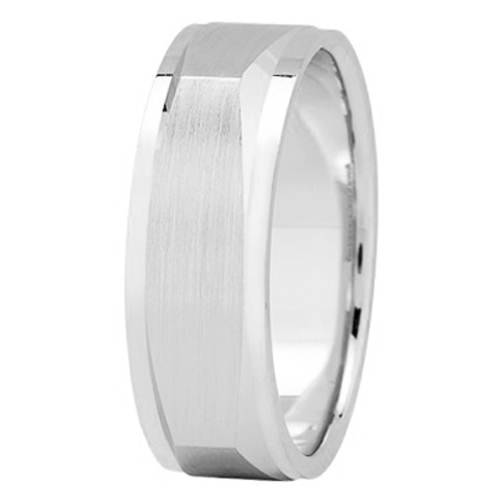 7 mm Men's Satin Square Wedding Band in 14K White Gold