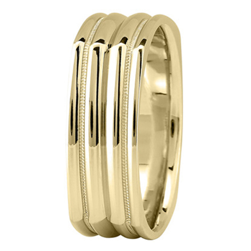 7 mm Men's Milligrain Square Wedding Band in 18K Yellow Gold