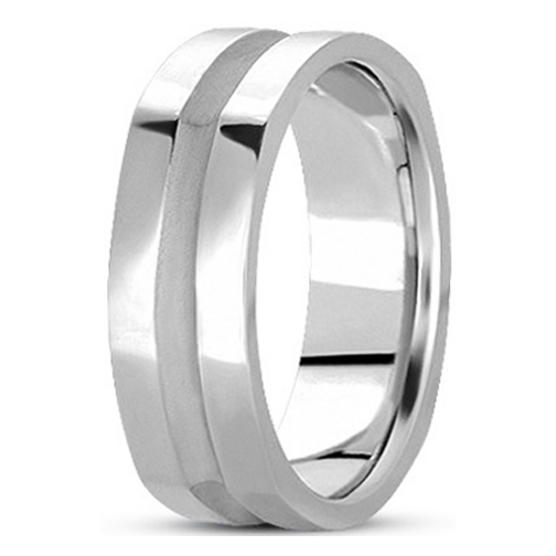 5mm Square Indented Men's Wedding Ring in White Gold