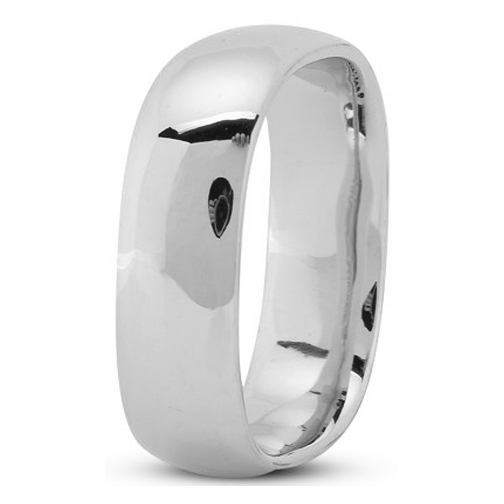 7mm Square Comfort Fit Men's Wedding Ring in Platinum
