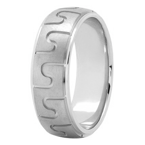7mm Puzzle Men's Wedding Ring in White Gold