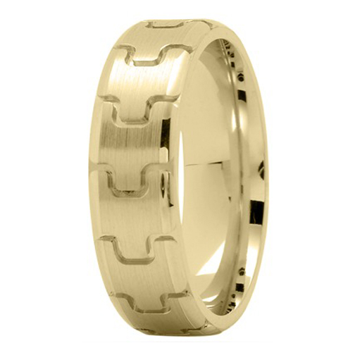6.5mm Puzzle Men's Wedding Ring in Yellow Gold