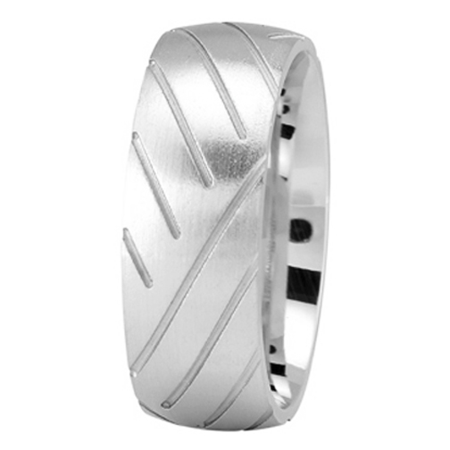 Super Cycle Tire Tread Men's Wedding Ring in White Gold  8mm