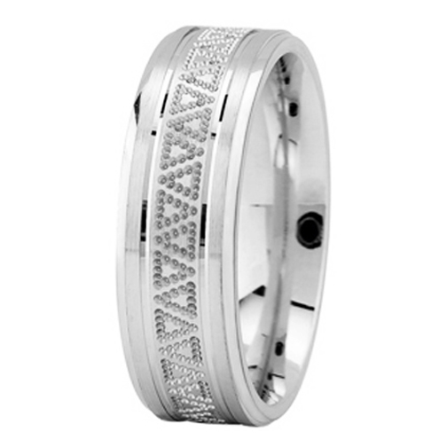 Milligrained Triangle Men's Wedding Ring in White Gold 7mm