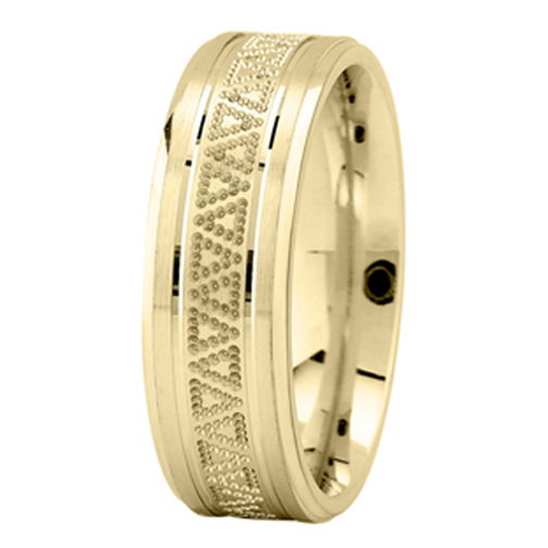 Milligrained Triangle Men's Wedding Ring in Yellow Gold 7mm