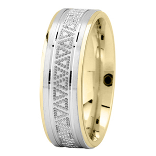 Milligrained Triangle Men's Wedding Ring in Two Tone Gold 7mm