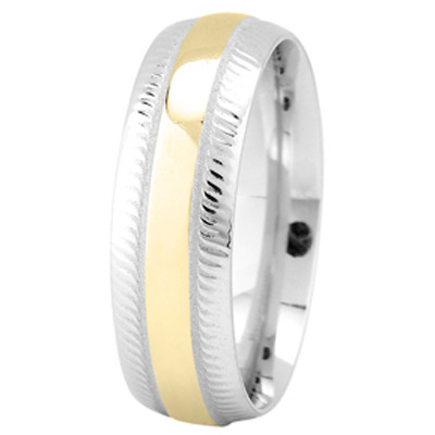 Two Tone Gold Milligrain Wedding Ring