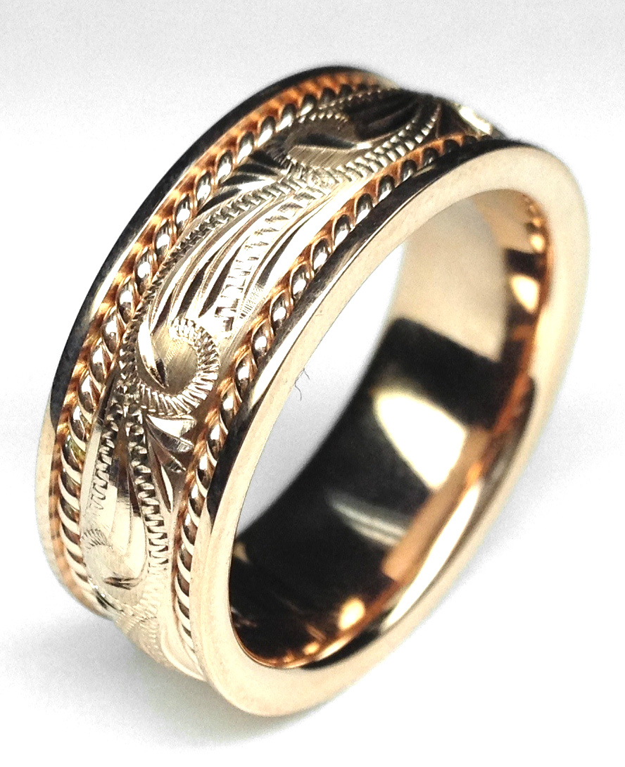 Rose Gold 8.5mm Rope & Engraved Men Wedding Band