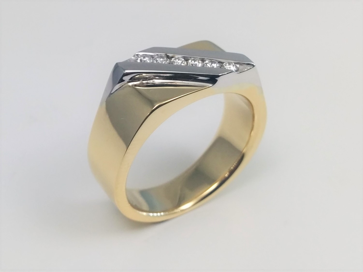 Two Tone Mens Diamond Channel Set Wedding Band