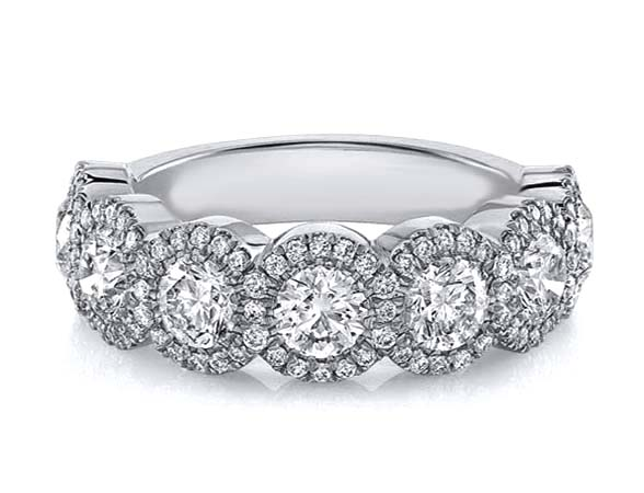 Seven Stone Diamond Halo Wedding-Anniversary Ring 1.82 TCW