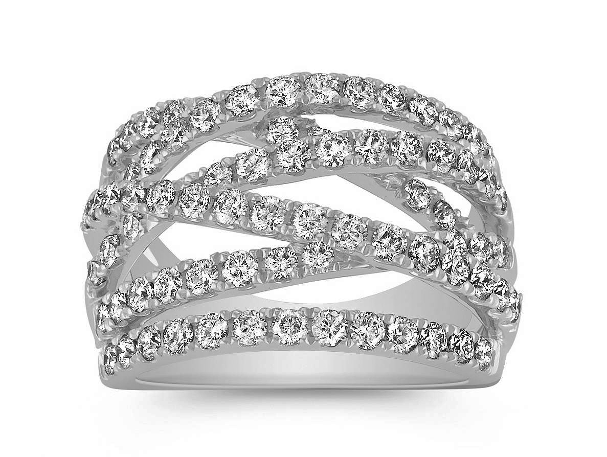 Criss-Cross Diamond Wedding Ring 1.5 TCW
