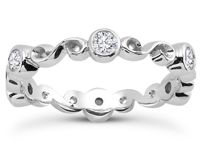 Six Stone Infinity Diamond Wedding Band in 14K White Gold