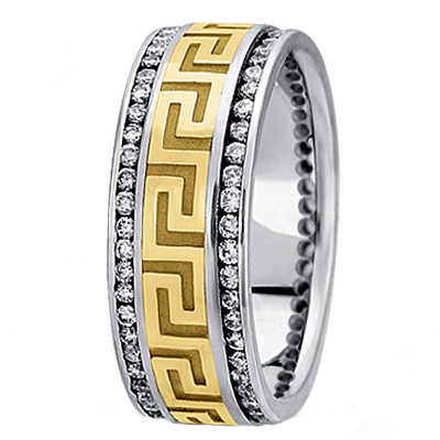 Meander Men's Diamond Wedding Band in White and Yellow Gold 9mm