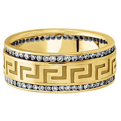 Meander Greek Key Men's Diamond Wedding Ring in Yellow Gold 9mm