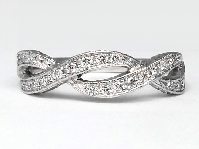 Infinity Diamond Engraved Wedding Ring
