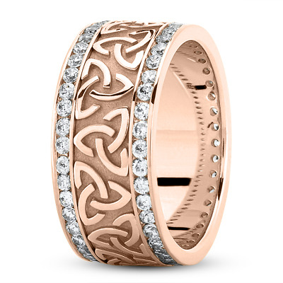 18 Karat Rose Gold Celtic Knot Diamond 9mm Wide Wedding Ring