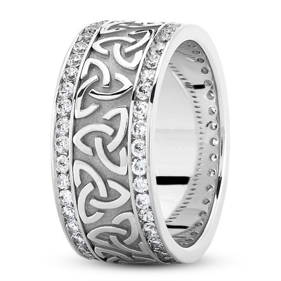 14 Karat White Gold Celtic Knot Diamond 9mm Wide Wedding Ring