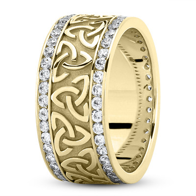 18 Karat Yellow Gold Celtic Knot Diamond 9mm Wide Wedding Ring