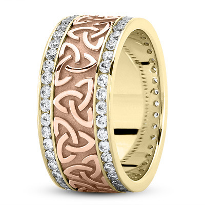18 Karat Yellow Gold Two Tone Celtic Knot Diamond 9mm Wide Wedding Ring