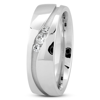 Round Diamond Channel Wave Wedding Ring