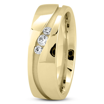 Round Diamond Channel Wave Yellow Gold Wedding Ring
