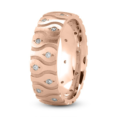 Satin Diamond Wave Rose Gold Wedding Band
