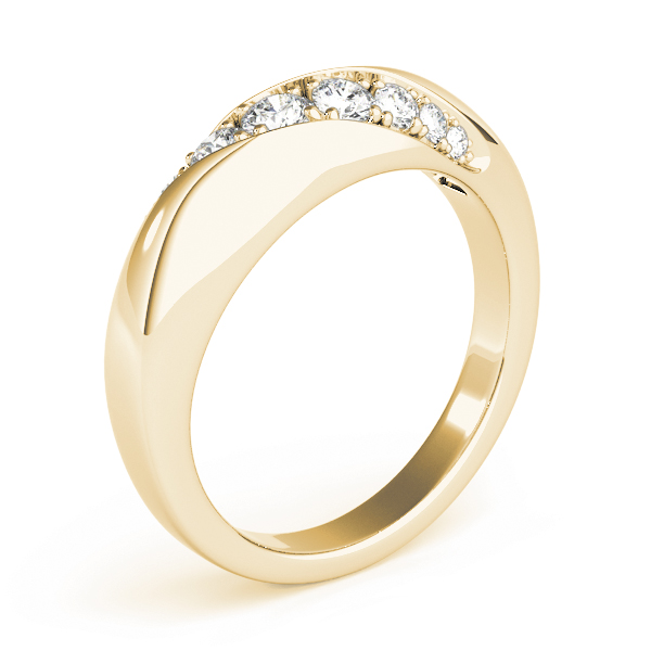 Diagonal Pave Diamond Wedding Band in Yellow Gold