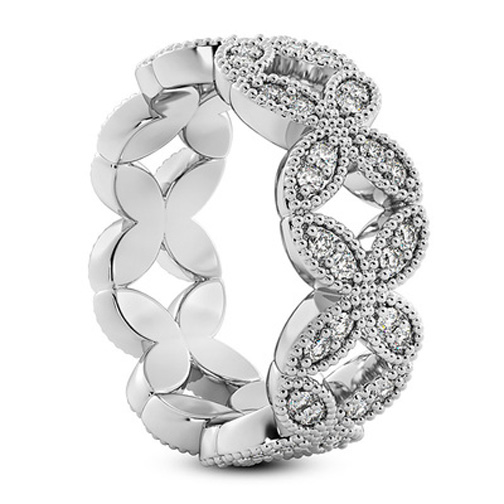 Vintage Style Diamond Floral Eternity Wedding Band 0.60 tcw.