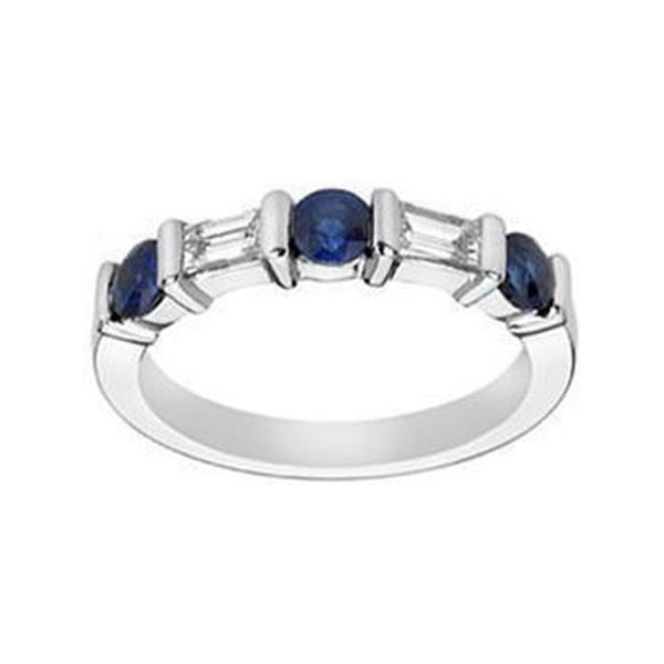 Baguette Diamond & Round Sapphire Wedding Band 0.34 tcw. In 950 Platinum