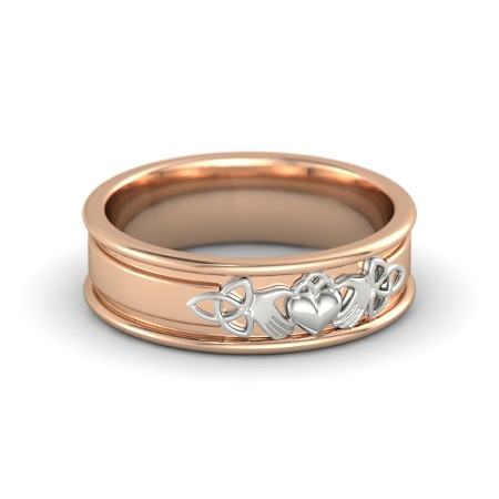 Claddagh and Celtic Pink Gold Ring