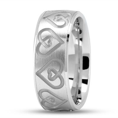 Engraved Double Heart Wedding Ring