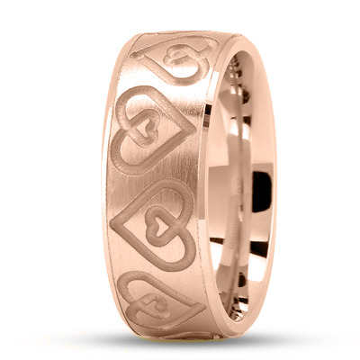 Engraved Double Heart Wedding Ring in Rose Gold