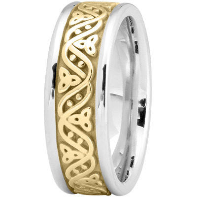 Celtic Wave Mens Wedding Ring in Yellow and White Gold