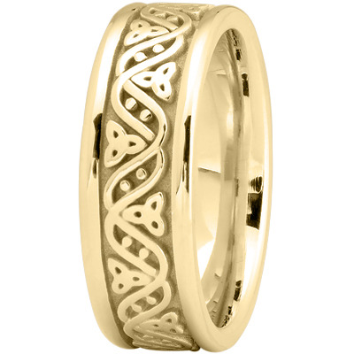Celtic Wave Mens Wedding Ring in Yellow Gold