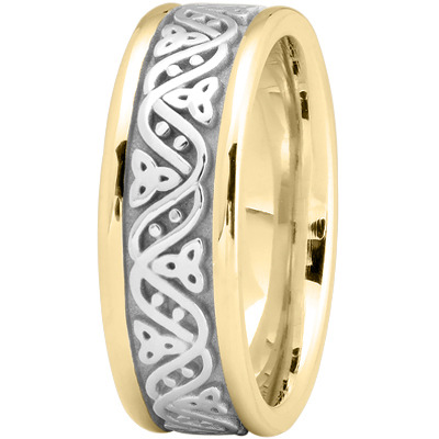 Celtic Wave Men's Wedding Ring in Two Tone