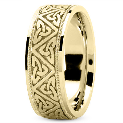Celtic Mens Wedding Ring in Yellow Gold