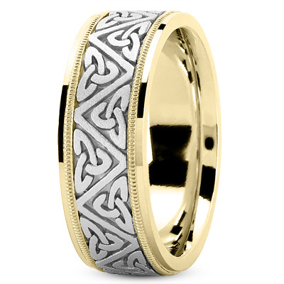 Celtic Mens Wedding Ring in Two Tone Gold