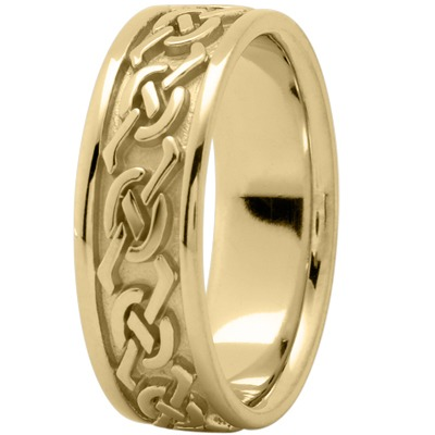 Celtic Mens Wedding Band in Yellow Gold