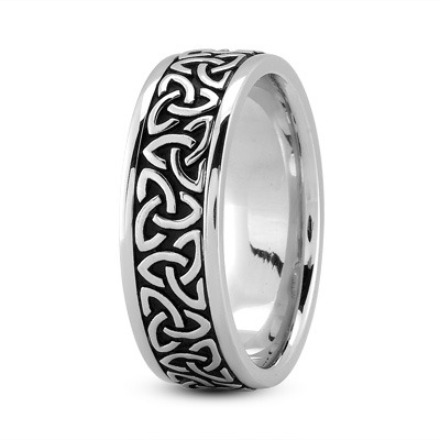 Celtic Mens Ring with Black Rhodium in Platinum