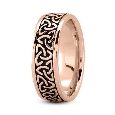 Celtic Mens Ring with Black Rhodium in Rose Gold