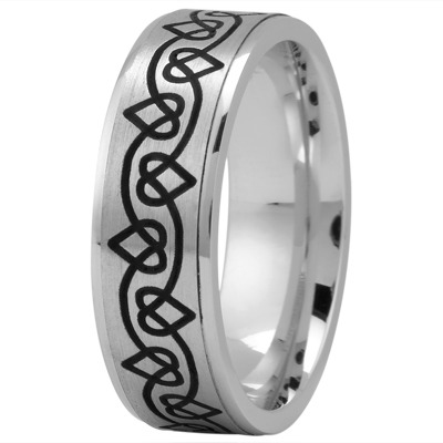 Celtic Mens Ring with Black Rhodium Hearts