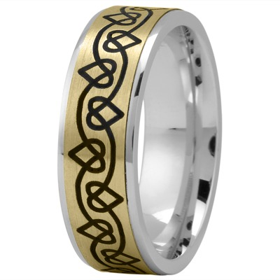 Celtic Men's Ring with Black Rhodium Hearts in Yellow and White Gold