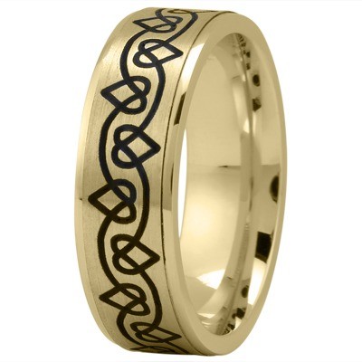 Celtic Mens Ring with Black Rhodium Hearts in Yellow Gold