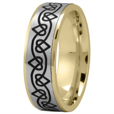 Celtic Mens Ring with Black Rhodium Hearts in Two Tone Gold