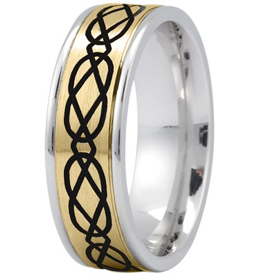 Celtic Men's Ring with Black Rhodium in Yellow and White Gold