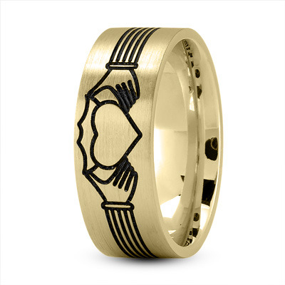 Claddagh Mens Ring with Black Rhodium in Yellow Gold