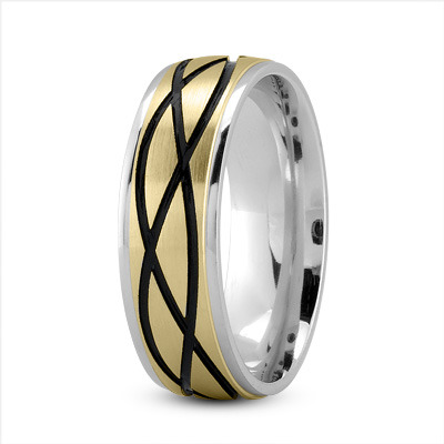 Celtic Men's Ring with Black Rhodium in White and Yellow Gold