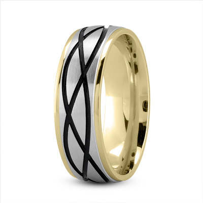 Celtic Men's Ring with Black Rhodium in Two Tone Gold